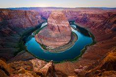 Horseshoe Bend is just west of Page, AZ. It's a crazy spot where the Colorado River forms a horseshoe shape and makes this canyon before opening up into the Grand Canyon.
