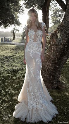 idan cohen bridal 2017 cap sleeve vneck illusion bodice trumpet lace wedding dress (princess ella) mv