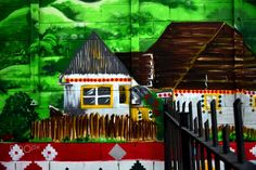 A little house painted on a wall. House Painting, Urban Art, Graffiti, Street Art, Fair Grounds, Cabin, House Styles, Wall, Fun