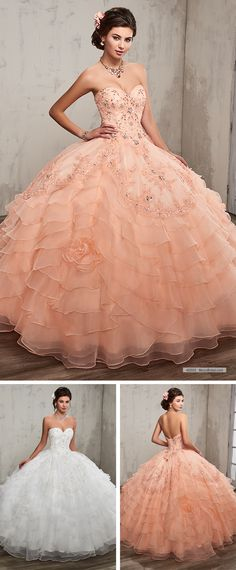 Mary's Quinceanera Style 4Q505 • Strapless organza quinceanera ball gown with sweetheart neck line, tiered skirt, bead embellishment, re-embroidery appliques, rosettes on skirt, detachable shawl, and back with lace-up closure.