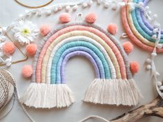 Love this Rainbow Wall Hanging with the pop of Turquoise and pom pom topper from Inspiration for our upcoming workshop schedule for October! Rainbow Decorations, Rainbow Wall, Crafts To Sell, Diy Gifts, Etsy, Weaving, Crafty, Handmade, Tired