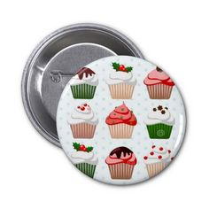 Muffins - Button - Badge - Christmas