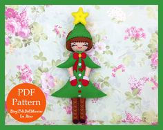 Felt Doll.Felt pattern.Felt doll pattern.PDF Pattern and Tutorial.Sewing pattern. Dollmaking.How to make felt dolls.Easy felt dolls.Handmade doll.Felt Crafts. Felt Christmas. Christmas Decoration. Christams Tree Doll.