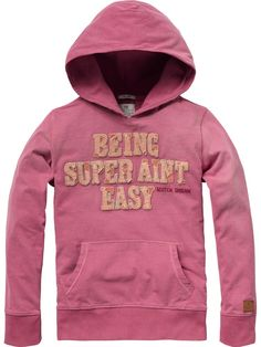 Hooded long-sleeved tee with bright text patch - T-Shirts - Scotch & Soda Online Shop