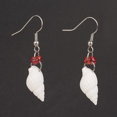 Trumpet Shell Bead Dangle Earrings, with Glass Seed Beads and Brass Earring Hooks,