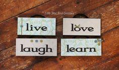 live laugh love learn Hanging Wood signs by littlebluebirdcreate www.littlebluebirdcreations.com #homedecor #woodsigns #primitive