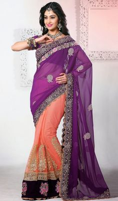 Purple and Peach Embroidered Georgette Net Half N Half Saree Price: Usa Dollar $179, British UK Pound £105, Euro131, Canada CA$192 , Indian Rs9666.