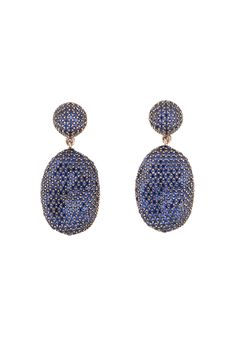 Coco oval earrings with sapphire cz stones