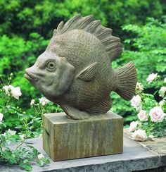 Tropical Fish cast stone fish statue made by Campania International