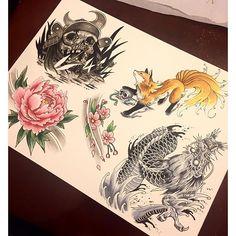 【jimtran_】さんのInstagramをピンしています。 《Some tattoo flashes. Up for grabs to tattoo! #tattoo #japanesetattoo #yycart #calgaryarts #calgarytattoo #samurai #kitsune #ninetailedfox #peony #flower #dragon #dragontattoo #flowertattoo #cherryblossoms #art》