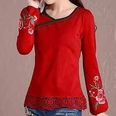 Women's Casual/Print Stretchy Long Sleeve Regular T-shirt ( Cotton ) – USD $ 22.19