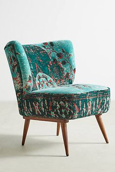 Anthropologie | Dhurrie Accent Chair | Indian rosewood legs | Handcarved | pretty | ad