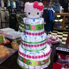 Hello Kitty diaper cake with cookie topper