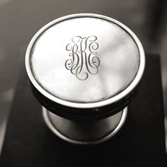 monogrammed knob for doors or cabinetry from Nanz Company (I wonder if I could get my dad to engrave knobs for my closet? Chandeliers, Just In Case, Just For You, Dark Wood Cabinets, Door Knobs, Drawer Knobs, Drawer Pulls, Kitchen Hardware, Shabby