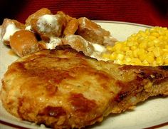 Toss the shake and bake, Baked Pork Chops  								This is a super easy pork chop recipe that tastes like you slaved over a hot stove for a few hours to achieve its tender flavor.