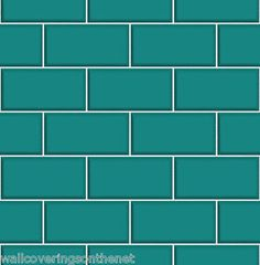 Teal & White Subway Tile Effect, Tiling on a Roll, Bathroom / Kitchen Wallpaper | eBay