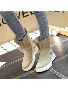 Flat With Shoes Buckle Platform Ankle Boots - m.tbdress.com