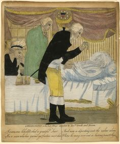 December George Washington dies at home in Mount Vernon. George Washington in his Last Illness, attended by Doctors Craik and Brown. Unidentified artist, ca. New-York Historical Society, Today In History, Mount Vernon, Medical History, Live In The Now, American Revolution, George Washington, Historical Society, Hand Coloring, Folk Art