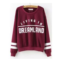 SheIn(sheinside) Wine Red Round Neck Letters Print Sweatshirt ($18) ❤ liked on Polyvore featuring tops, hoodies, sweatshirts, sweaters, shirts, red, sweat shirts, pullover shirt, red sweat shirt and purple sweatshirt