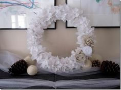 Winter wreath--wreath made from white tissue paper flowers--this is neat, but not for the worship center.  If we did wreaths somewhere else like layered over a bathroom mirror or suction cupped to entrance doors or something.