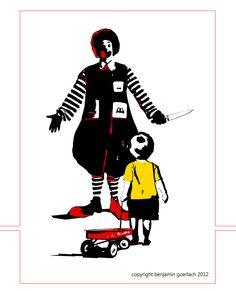 Visual Artist: Benjamin Goerlach  #artist #visual #screenprinting #graphic #stencil #streetart #political #anticapitalist #humor #humour #america #mcdonalds #ronaldmcdonald #clown #child #art