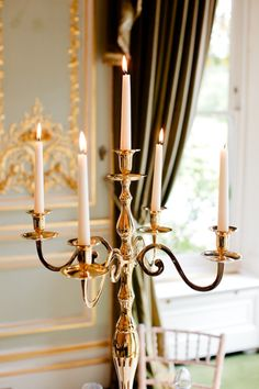 Gold silver or cream candleabra
