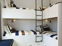 Modern industrial bunk bed corner. I love the white, cream, bronze and navy. Really goes well with the industrial, bronze ladder.