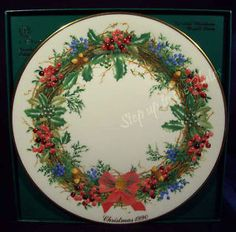 Lenox China 13 Colonial Wreath Christmas Plate 10th NEW JERSEY 1990