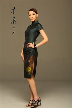 Art. Chinese Style Elegant Painting Cheongsam Dress