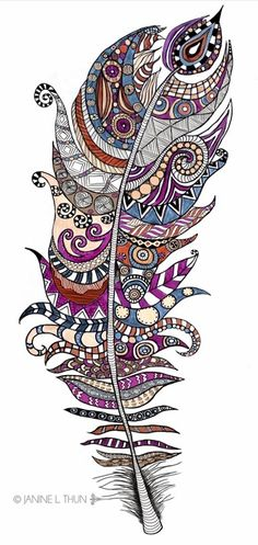 Zentangle inspired Feather, Doodle, 2013, © Janine L. Thun see more on http://wondering-in-wonderland.blogspot.de