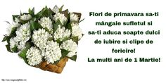Felicitari de 1 Martie - La multi ani de 1 Martie! - mesajeurarifelicitari.com 8 Martie, Happy Birthday, Herbs, Pictures, Flowers, Happy Brithday, Urari La Multi Ani, Happy Birthday Funny, Herb