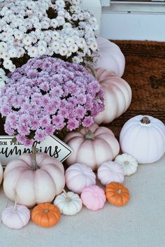 pink pumpkins How to decorate your front door with pink accents! From pink pumpkins to pink mums, everything you will need for a gorgeous pink fall!