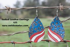A personal favorite from my Etsy shop https://www.etsy.com/listing/269068289/tooled-leather-earrings-stars-stripes