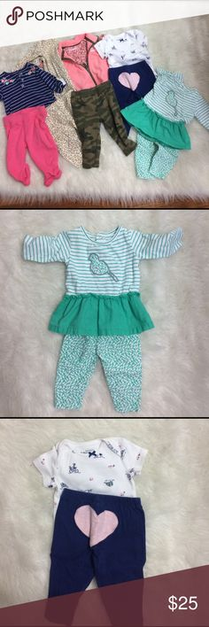 14 pc Bundle Carters 3m Girl complete Outfits 6 complete outfits from Carter's   all labeled size 3m (also considered 0-3m)  Used but no stains Carter's Matching Sets