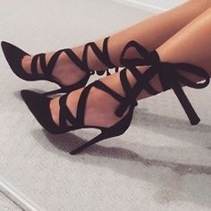 awesome Shoespie Date Out Black Ribbon Lace Up Stiletto Heels