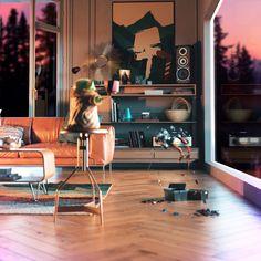 ArtStation - Mid Mod Mando, Joel Erkkinen Modern Architecture House, Mandalorian, Minimalist Design, Mid-century Modern, Mid Century, Fandom, Homes, Furniture, Tv