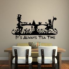 It's Always Tea Time Wall Decal Quote Alice In by PonyDecal
