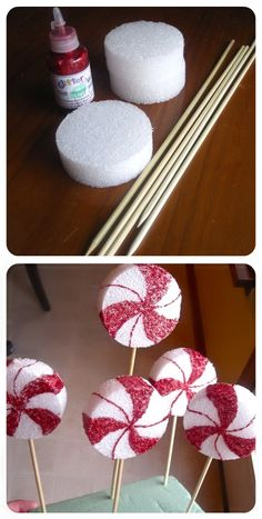 con dommies para queques. Peppermint lollipop decor - I made some of these last year except I made the huge ones and placed them out in the front yard. These are probably much easier to make.Super cute!