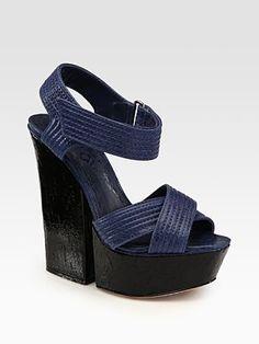 Alice + Olivia Ula Leather Criss-Cross Platform Sandals