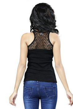 Ladies/Women/Girl/vest/Cotton Stretchable Tank Top/Black Inner Backside Net