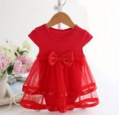 Summer Cotton Bow New Born Baby Dress