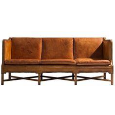 Kaare Klint Sofa Model 4118 in Mahogany and Original Cognac Leather