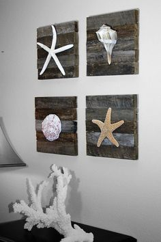 Cute ideas for beach house scrap boards and seashells  and starfish from the beach. Very high volume of pinning with this beach art!