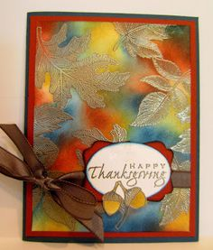 handmade Thanksgiving card from Paper Seedlings ... gold embossed leaves on top of watercolor look background ... luv the color combo of Fall colors and a touch of blue ... Stampin' Up!