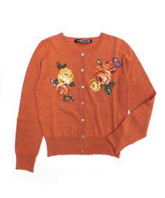 Old Rose embroidery knit cardigan - Jane Marple Online Shop