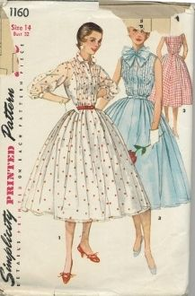 An unused original ca. 1955 Simplicity Pattern 1160.  Misses' One-Piece Dress: The bodice front of this shirtwaist type dress is styled with outside tucks. Full skirt is softly pleated. View 1 three quarter sleeves are gathered to a band. Views 1 and 2 have a small collar. Views 2 and 3 are sleeveless. View 3 tie collar fastens in a bow in front. Tucks are detailed with gathered lace edging giving a very feminine look to this version.