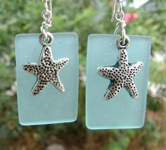 Sea glass earrings with starfish charm by slotzkin on Etsy, $16.00