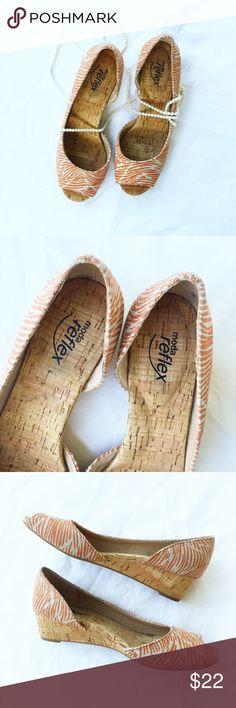 Moda Reflex | Zebra Print Cork Wedge | Size 7 1/2 Beautiful cork wedge heels with cream and muted orange zebra print fabric. These are in new condition with no visible wear. Stickers still on place on bottom of shoes. Very comfortable and easy to walk in. Ready to ship next business day! Shoes Wedges
