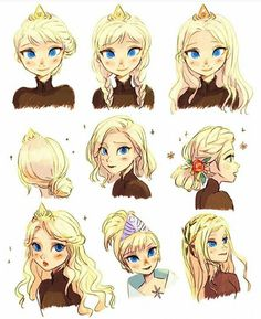 Elsa different hairstyles Jack And Elsa, Frozen Elsa And Anna, Disney Frozen Elsa, Disney Princess, Elsa Anna, Disney Fan Art, Disney Love, Disney Magic, Disney And Dreamworks