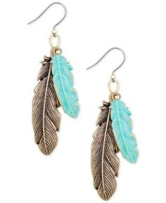 Lucky Brand Two-Tone Double Feather Drop Earrings - Gold